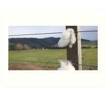 Staples on wire fence. Art Print