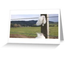 Staples on wire fence. Greeting Card