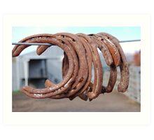 Rusting horse shoes. Art Print