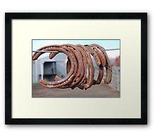 Rusting horse shoes. Framed Print