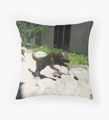 Wolf  sculptures Throw Pillow