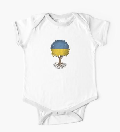 Tree of Life with Ukrainian Flag One Piece - Short Sleeve