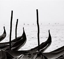 Gondolas on watch by Venice
