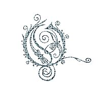 ANTIQUE FILIGREE LETTER OPETH - Grey Daisies Photographic Print