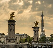 Alexander III Bridge and the Eiffel Tower by MichaelJP