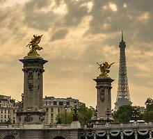 Alexander III Bridge and the Eiffel Tower by MichaelJP