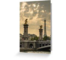 Alexander III Bridge and the Eiffel Tower Greeting Card