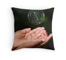 Catching bubbles Throw Pillow