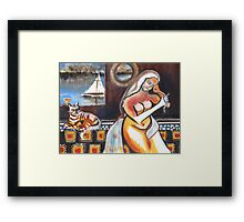 Bellini Mod, Lady with Cat on Yacht Framed Print