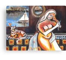 Bellini Mod, Lady with Cat on Yacht Canvas Print