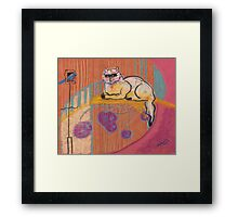 Pool Cat Framed Print