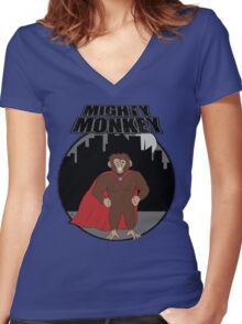 Mighty Monkey Women's Fitted V-Neck T-Shirt