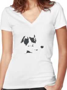 A Dog and his Ball Women's Fitted V-Neck T-Shirt