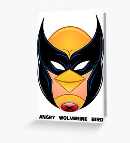 Angry Wolverine Bird Greeting Card