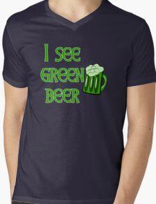 I See Green Beer Funny St Patricks Day Mens V-Neck T-Shirt