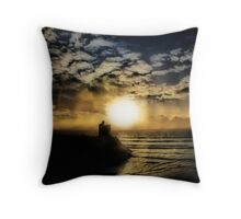 Concentric Silhouette Sunset Throw Pillow