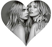 I love Cara Delevigne Kate Moss supermodel  Heart Shirt  Photographic Print