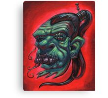 Shrunken Zombie Head Canvas Print