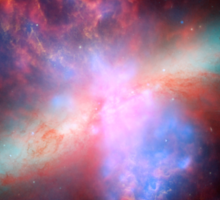 Hubble Space Telescope Print 0036 - Chandra Hubble Spitzer X-ray Visible Infrared Image of M82 - hs-2006-14-f-full_jpg Sticker