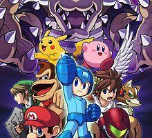 Super Smash Bros - Bowser, Megaman, Pikachu, Link, Mario, Samus, Fox, Kirby, Donkey kong by nehetaki