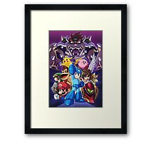 Super Smash Bros - Bowser, Megaman, Pikachu, Link, Mario, Samus, Fox, Kirby, Donkey kong Framed Print