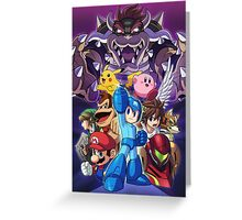 Super Smash Bros - Bowser, Megaman, Pikachu, Link, Mario, Samus, Fox, Kirby, Donkey kong Greeting Card
