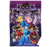 Super Smash Bros - Bowser, Megaman, Pikachu, Link, Mario, Samus, Fox, Kirby, Donkey kong Poster