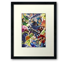 Super Smash Bros - Lucina, Robin, Pikachu, Mario, Luigi, Megaman, Captain Falcon, Kirby, Link, Peach, Charizard Framed Print