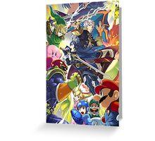 Super Smash Bros - Lucina, Robin, Pikachu, Mario, Luigi, Megaman, Captain Falcon, Kirby, Link, Peach, Charizard Greeting Card