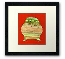 Colourful owl linework stripey Framed Print