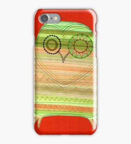 Colourful owl linework stripey iPhone Case/Skin