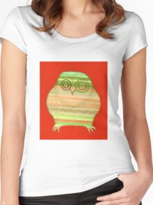 Colourful owl linework stripey Women's Fitted Scoop T-Shirt
