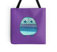 Owl in stripey cool greys and blues Tote Bag