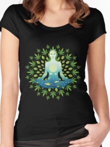 Young woman practicing meditation 3 Women's Fitted Scoop T-Shirt
