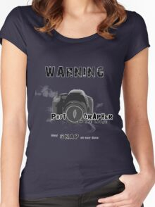 Photographer on the Loose, May Snap at Anytime [Black] Women's Fitted Scoop T-Shirt