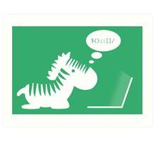 Programming zebra Art Print