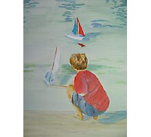 Boy a with boats Photographic Print