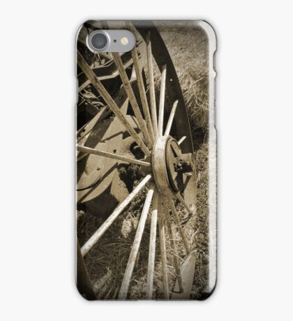 Antique Wagon Wheel Sepia iPhone Case/Skin