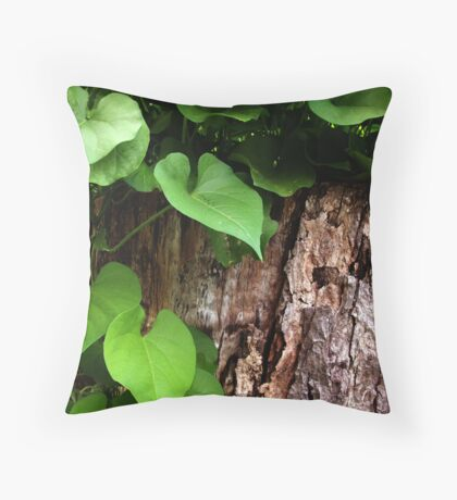 Leaves and Bark Throw Pillow