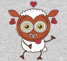 Crazy sheep feeling lucky in love Kids Tee