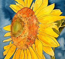 macro sunflower watercolor painting by derekmccrea