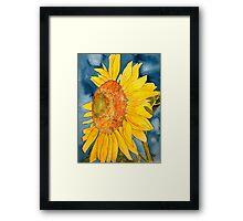 macro sunflower watercolor painting Framed Print
