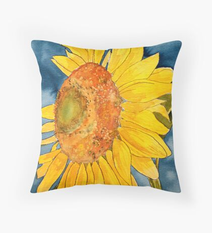 macro sunflower watercolor painting Throw Pillow
