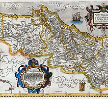 1560 Map of Portugal by Ortelius by paulrommer