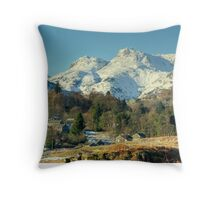 Elterwater Village and the Langdale Pikes Throw Pillow