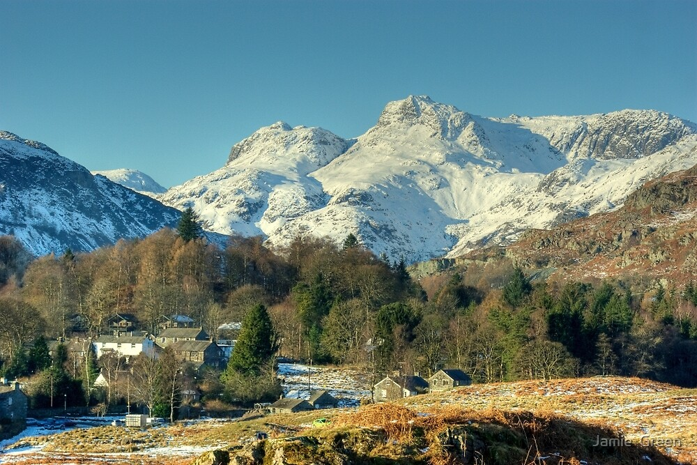 Elterwater Village and the Langdale Pikes by Jamie  Green