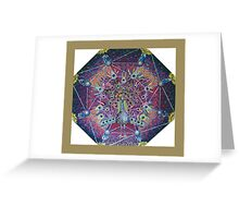 Peacock Hologram Mandala Mosaic Greeting Card