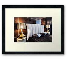 bedroom bed and table lamps Interior Framed Print