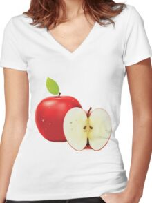 Red apple and half of apple Women's Fitted V-Neck T-Shirt