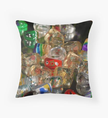 Colofulr Rings Throw Pillow
